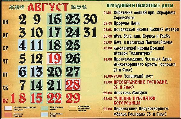 церковные праздники в августе 2021