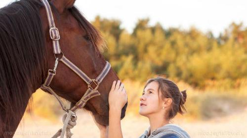 ласкать лошадь