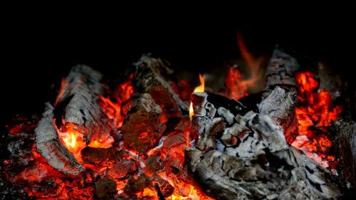 печка с огнем