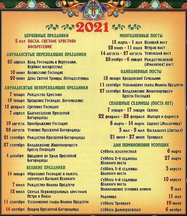православные праздники в 2021