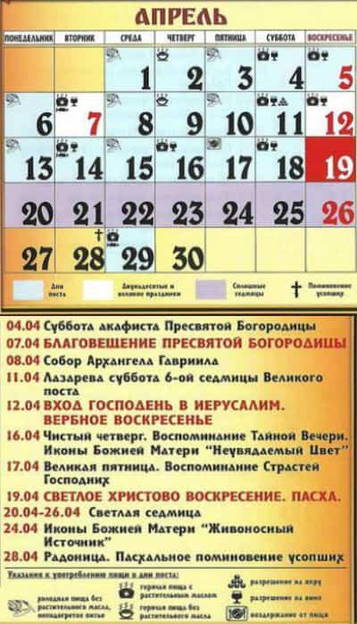 какие православные праздники в апреле