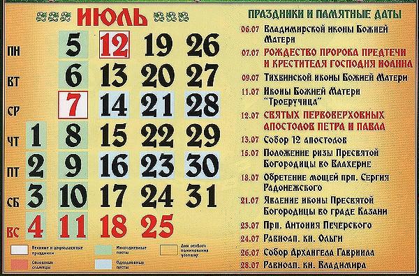 церковные праздники в июле 2021