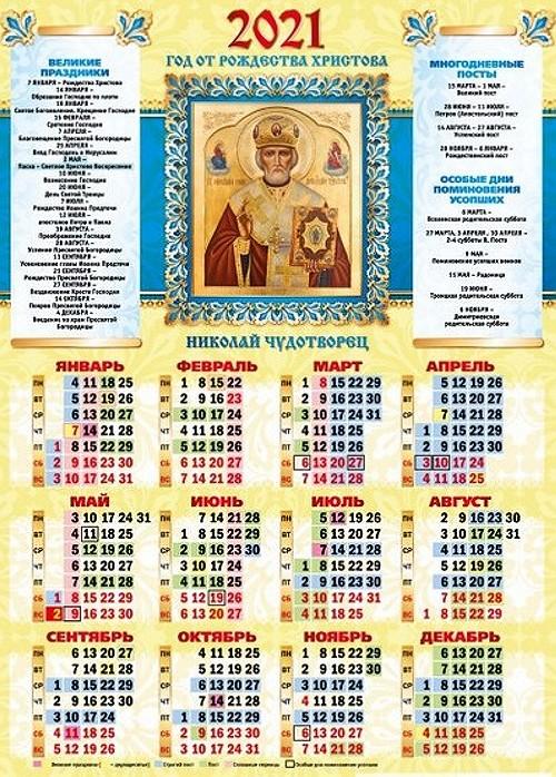 календарь церковных праздников на 2021 год