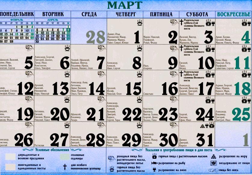 церковный календарь на март