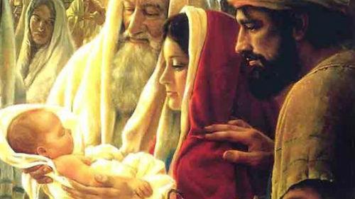 появление девы с младенцем в храме