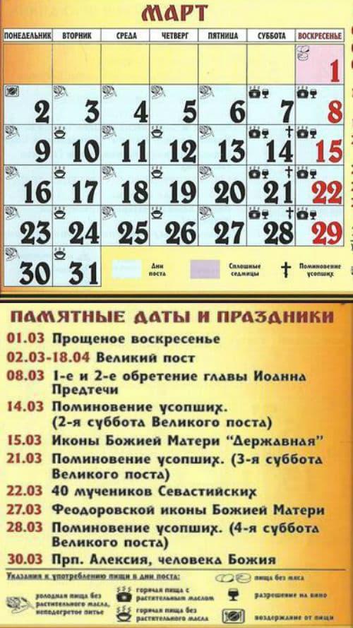 какие церковные праздники в марте