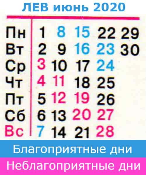 лев: благоприятные дни июнь 2020