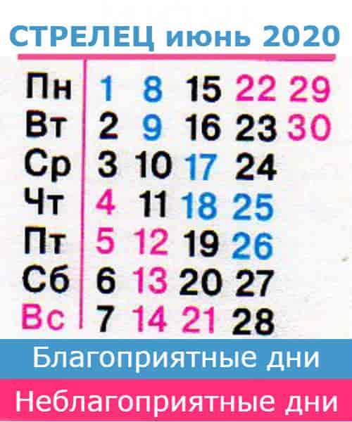 стрелец: благоприятные дни июнь 2020