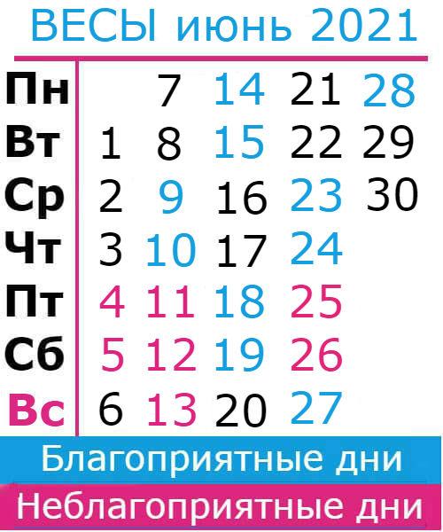 весы гороскоп на июнь 2021