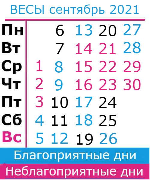 весы гороскоп на сентябрь 2021